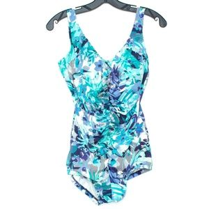 Other - Blue Floral One Piece Swimsuit Womens D2